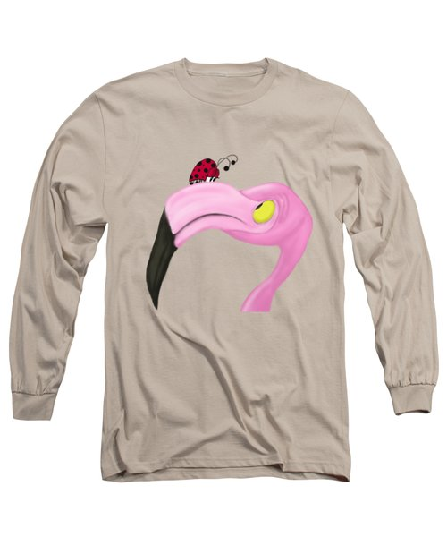 Fiona The Flamingo And Her Visitor Long Sleeve T-Shirt by Michelle Brenmark