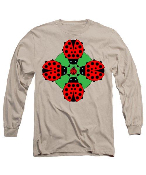 Five Lucky Ladybugs Long Sleeve T-Shirt by John Groves