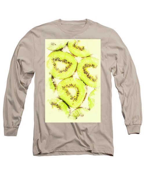 Full Frame Shot Of Fresh Kiwi Slices With Seeds Long Sleeve T-Shirt by Jorgo Photography - Wall Art Gallery