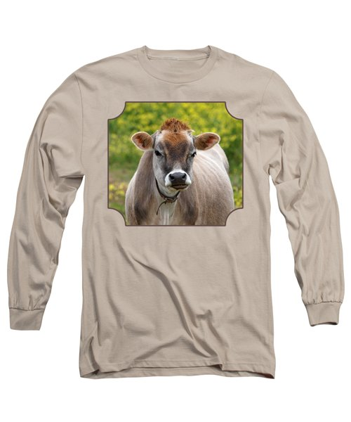 Funny Jersey Cow - Horizontal Long Sleeve T-Shirt by Gill Billington