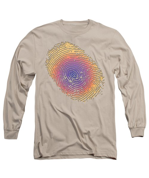 Giant Iridescent Fingerprint On Salmon Roe Pink Set Of 4 - 2 Of 4 Long Sleeve T-Shirt by Serge Averbukh