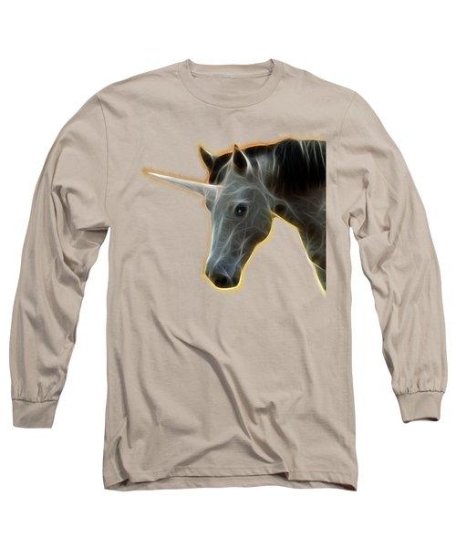 Glowing Unicorn Long Sleeve T-Shirt by Shane Bechler