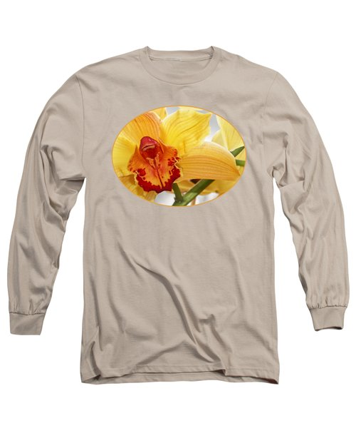 Golden Cymbidium Orchid Long Sleeve T-Shirt by Gill Billington