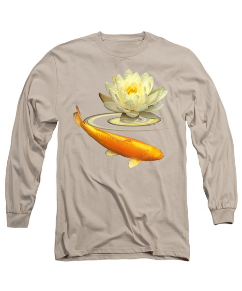 Golden Harmony - Koi Carp With Water Lily Long Sleeve T-Shirt by Gill Billington