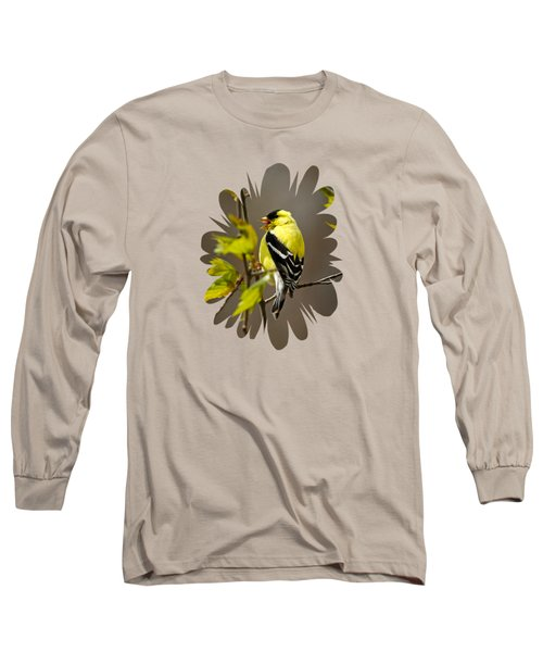 Goldfinch Suspended In Song Long Sleeve T-Shirt by Christina Rollo