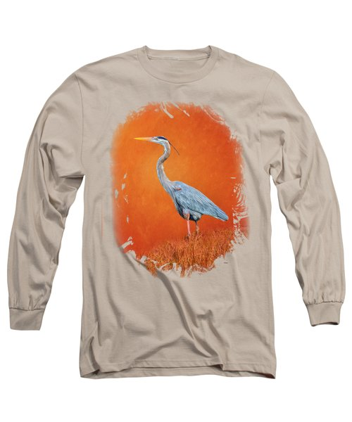 Great Blue Abstract 2 Long Sleeve T-Shirt by John M Bailey