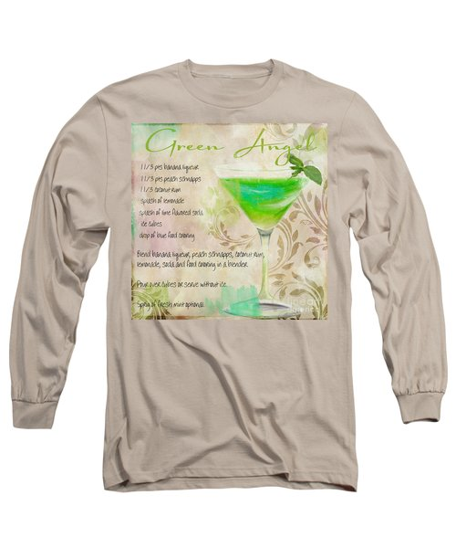 Green Angel Mixed Cocktail Recipe Sign Long Sleeve T-Shirt by Mindy Sommers