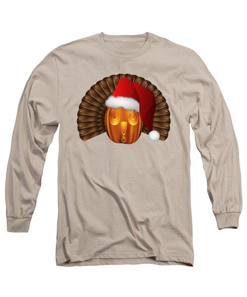 Hallowgivingmas Santa Turkey Pumpkin Long Sleeve T-Shirt by MM Anderson
