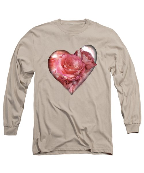 Heart Of A Rose - Melon Peach Long Sleeve T-Shirt by Carol Cavalaris