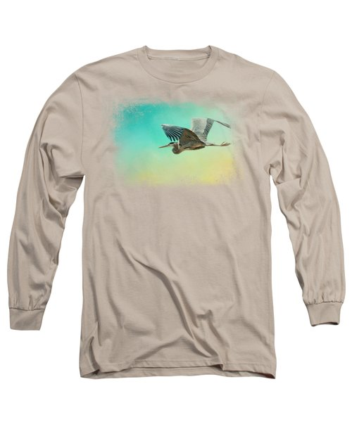 Heron At Sea Long Sleeve T-Shirt by Jai Johnson