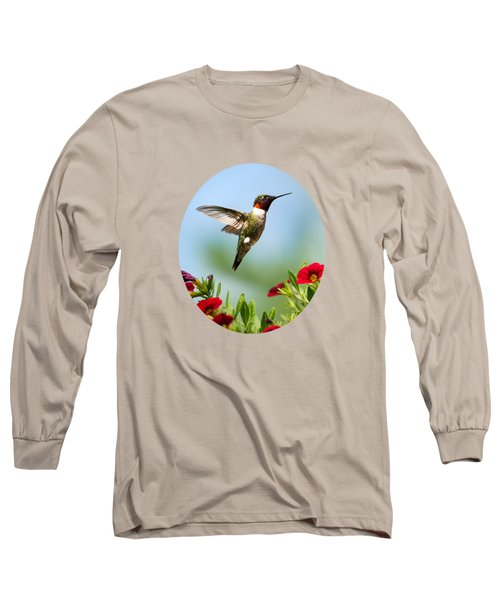 Hummingbird Frolic With Flowers Long Sleeve T-Shirt by Christina Rollo