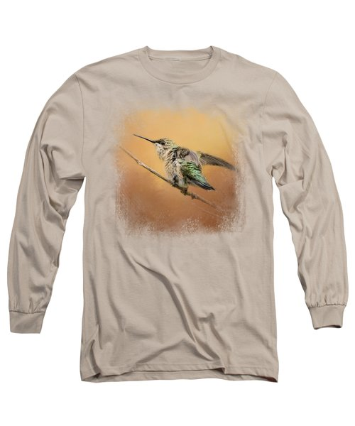 Hummingbird On Peach Long Sleeve T-Shirt by Jai Johnson
