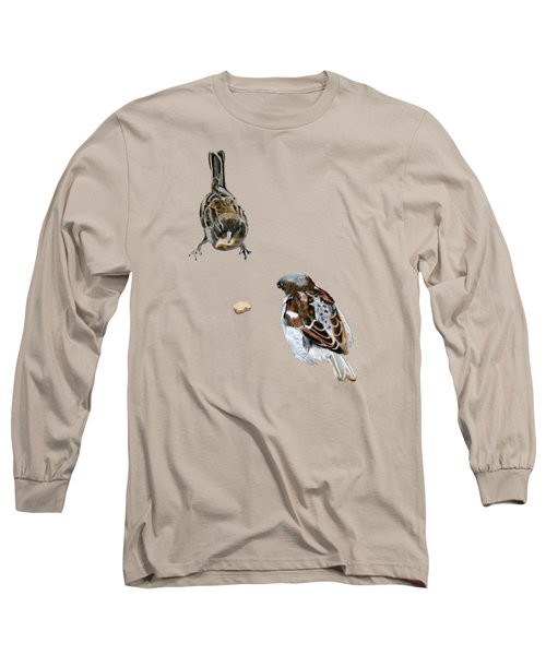 Hungry Sparrows Long Sleeve T-Shirt by Birgit Jentsch
