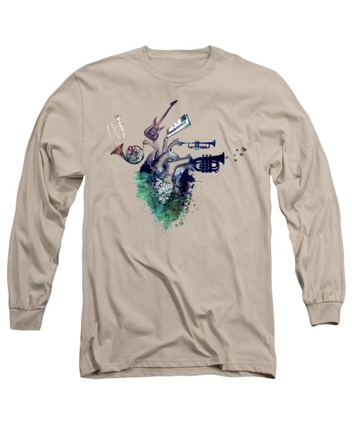 I Love Music - Music My Love Long Sleeve T-Shirt by Justyna JBJart