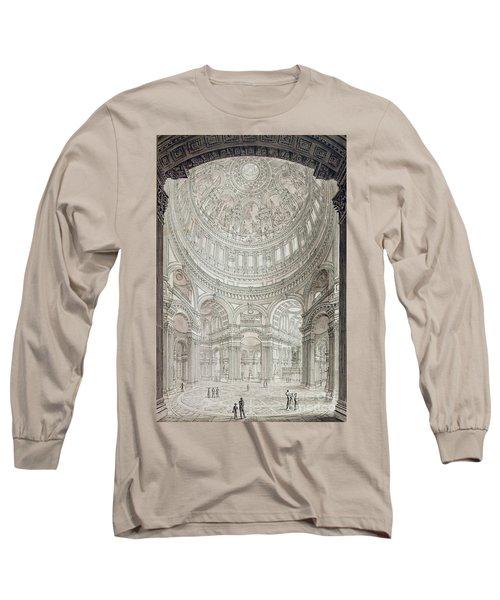 Interior Of Saint Pauls Cathedral Long Sleeve T-Shirt by John Coney