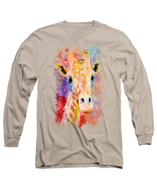 Jazzy Giraffe Colorful Animal Art By Jai Johnson Long Sleeve T-Shirt by Jai Johnson