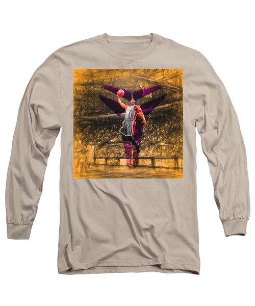 Kobe Bryant Black Mamba Digital Painting Long Sleeve T-Shirt by David Haskett