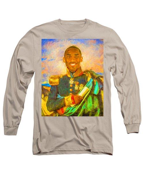 Kobe Bryant Floor General Digital Painting La Lakers Long Sleeve T-Shirt by David Haskett