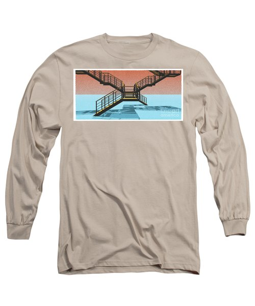 Large Stair 38 On Cyan And Strange Red Background Abstract Arhitecture Long Sleeve T-Shirt by Pablo Franchi