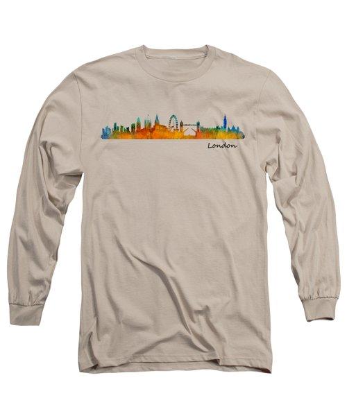 London City Skyline Hq V1 Long Sleeve T-Shirt by HQ Photo