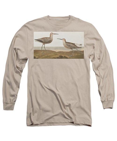 Long-legged Sandpiper Long Sleeve T-Shirt by John James Audubon