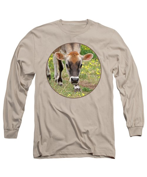 Look Into My Eyes - Jersey Cow - Square Long Sleeve T-Shirt by Gill Billington