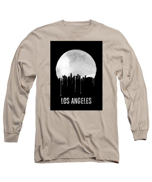 Los Angeles Skyline Black Long Sleeve T-Shirt by Naxart Studio
