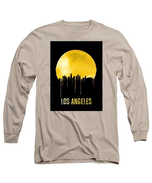 Los Angeles Skyline Yellow Long Sleeve T-Shirt by Naxart Studio