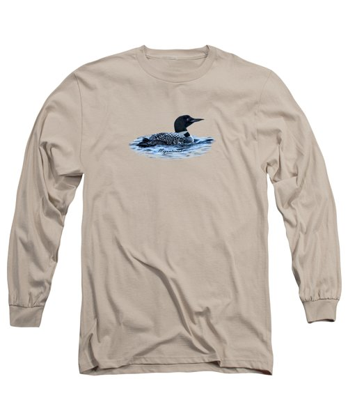 Male Mating Common Loon Long Sleeve T-Shirt by Daniel Hebard
