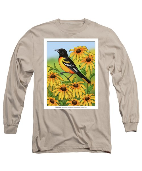 Maryland State Bird Oriole And Daisy Flower Long Sleeve T-Shirt by Crista Forest