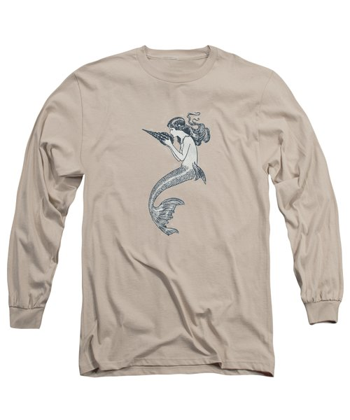 Mermaid - Nautical Design Long Sleeve T-Shirt by World Art Prints And Designs