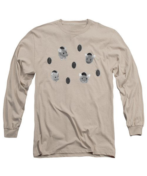 Mice In Swiss Cheese Long Sleeve T-Shirt by Rita Palmer