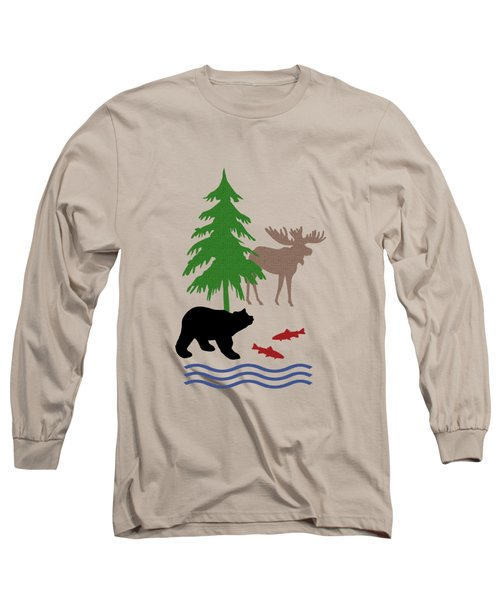Moose And Bear Pattern Long Sleeve T-Shirt by Christina Rollo