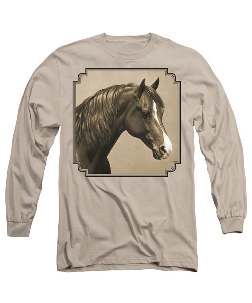 Morgan Horse Painting In Sepia Long Sleeve T-Shirt by Crista Forest