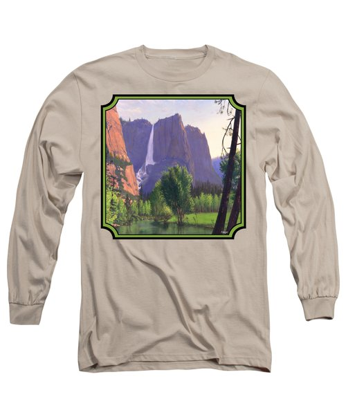 Mountains Waterfall Stream Western Landscape - Square Format Long Sleeve T-Shirt by Walt Curlee