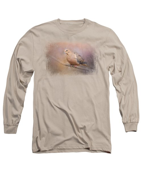 Mourning Dove On A Winter Evening Long Sleeve T-Shirt by Jai Johnson