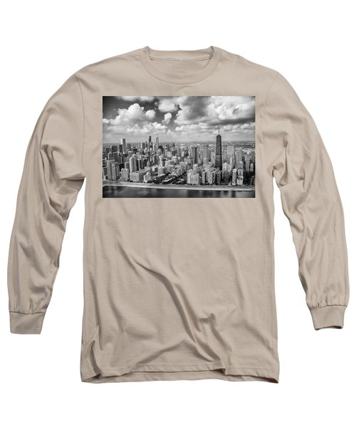 Near North Side And Gold Coast Black And White Long Sleeve T-Shirt by Adam Romanowicz