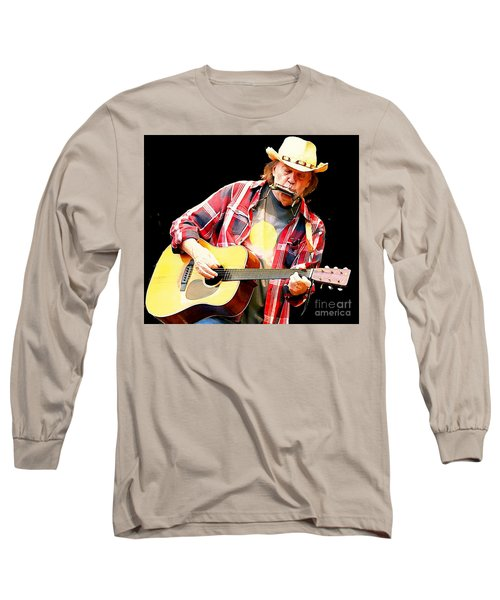 Neil Young Long Sleeve T-Shirt by John Malone