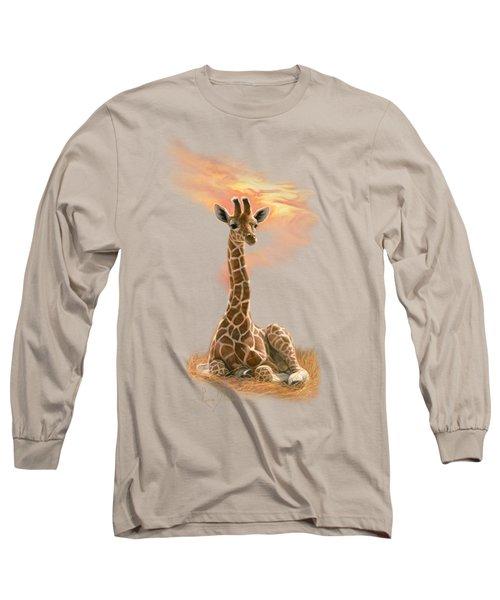 Newborn Giraffe Long Sleeve T-Shirt by Lucie Bilodeau