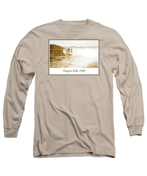 Long Sleeve T-Shirt featuring the photograph Niagara Falls Ferry Boat 1904 Vintage Photograph by A Gurmankin