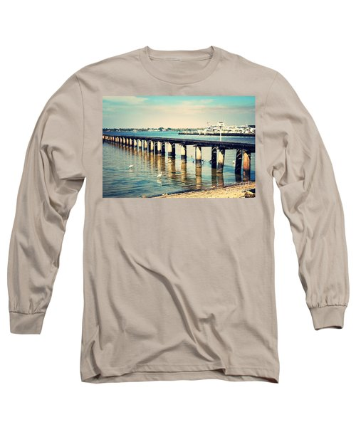 Old Fort Myers Pier With Ibises Long Sleeve T-Shirt by Carol Groenen