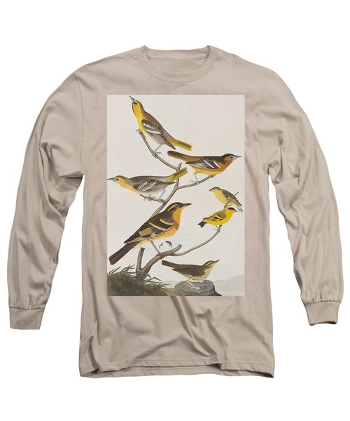 Orioles Thrushes And Goldfinches Long Sleeve T-Shirt by John James Audubon