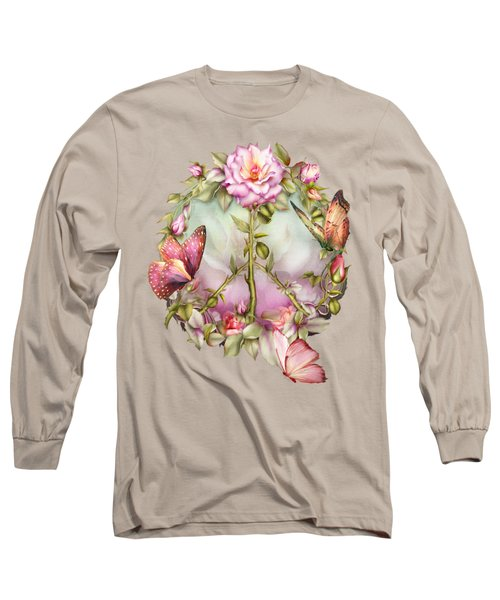 Peace Rose Long Sleeve T-Shirt by Carol Cavalaris