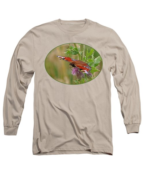 Peacock Butterfly On Thistle Long Sleeve T-Shirt by Gill Billington