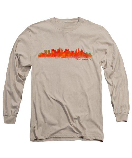 Philadelphia City Skyline Hq V2 Long Sleeve T-Shirt by HQ Photo