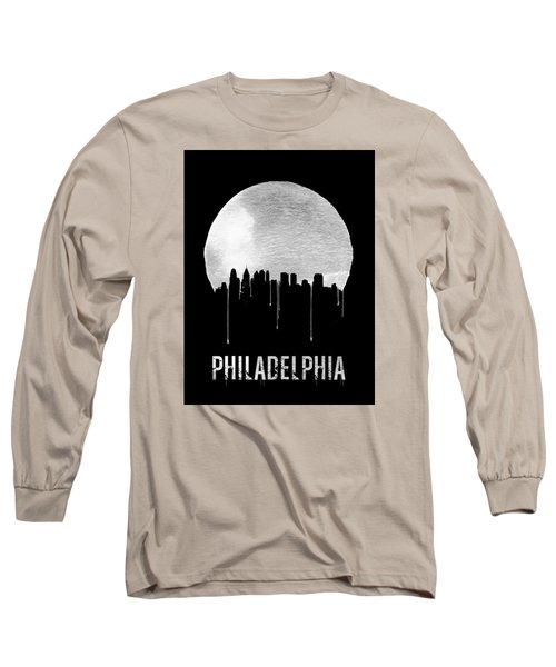 Philadelphia Skyline Black Long Sleeve T-Shirt by Naxart Studio
