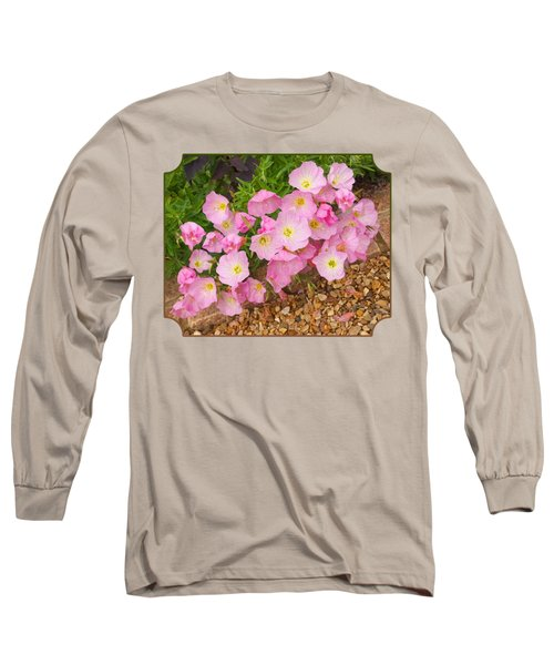 Pretty Pink Rock Roses In The Rain Long Sleeve T-Shirt by Gill Billington