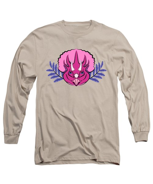 Pretty Pink Triceratops Long Sleeve T-Shirt by MM Anderson