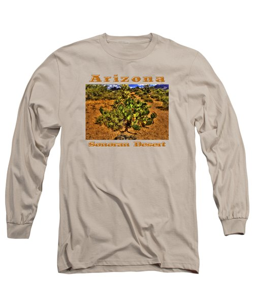 Prickly Pear In Bloom With Brittlebush And Cholla For Company Long Sleeve T-Shirt by Roger Passman