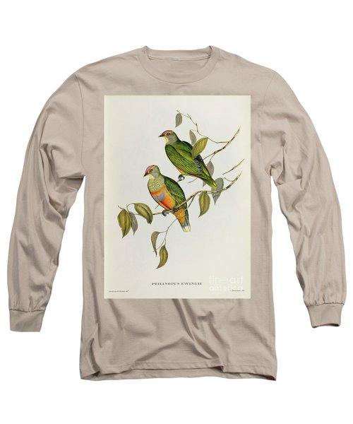 Ptilinopus Ewingii Long Sleeve T-Shirt by John Gould